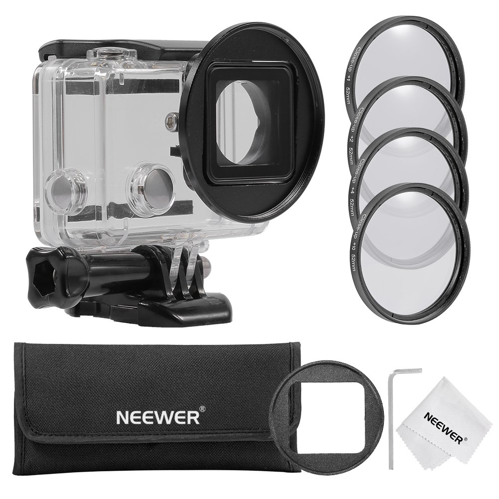 Neewer 52MM Close-up Filter Set for GoPro Hero 3+/4: (1)52mm Macro Close-up Filter Set(+1, +2, +4, +10) + (1)52mm Lens Filter Ring Adapter + (1)Microfiber Cleaning Cloth + (1)Filter Carrying Pouch