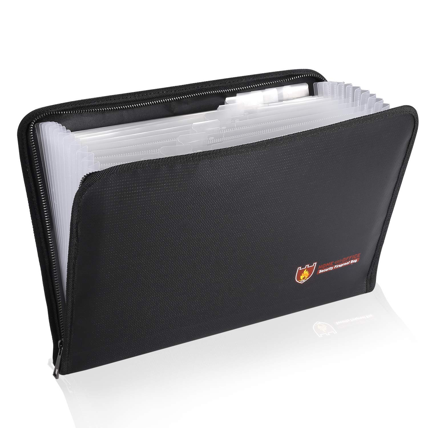 Expanding Fireproof Accordion Document Bags File Folder A4 Size 12 Pockets Non-Itchy Silicone Coated Fire Resistant Money Storage Bags Portable Filing Organizer (14.3x9.8 inch)