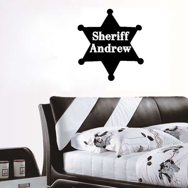 Kid Wall Sticker Custom Sheriff Name Toy Story Western Art Wall Decal DIY Vinyl Decoration Home Decor For Baby Room