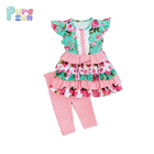 Baby girls multi ruffles flutter sleeve outfits spring boutique girl clothes kids clothing sets