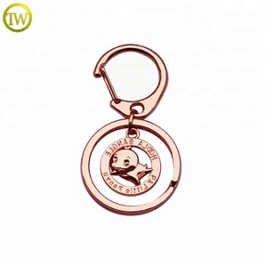 Rose gold bird logo keychain tag decorative bags metal hang tag with ring
