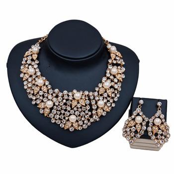 Indian Bridal Jewelry Set Luxury Rhinestone And Pearl Wedding Jewellery Whole Crystal Td64y007