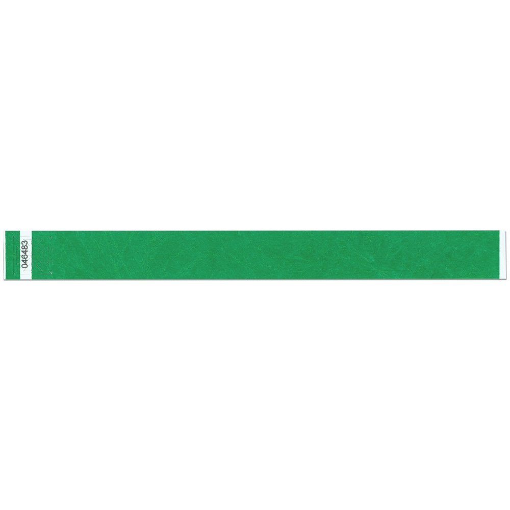 1 Inch Tyvek Tytan-Band® Wristbands - Strong Adhesive Closure Tear Resistant - Kelly Green - 500 Pieces Per Box