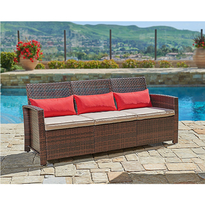 Brown 3-Piece Cushioned Outdoor Patio PE Rattan Furniture Set Sectional Garden Sofa