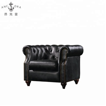 Antique Black Leather Chesterfield Sofa Chair With Nailhead Trims K602a -  Buy Single Sofa Chair,Chesterfield Sofa Chair,Black Leather Chair Product  on ...