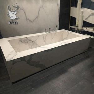 Hand carving carrara white marble bathtub for sale