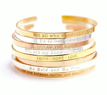 06b3a93349e Stainless Steel Gold Mantra Band Cuff, Positive Inspirational Quote Cuff  Bracelet, Stacking Bangle
