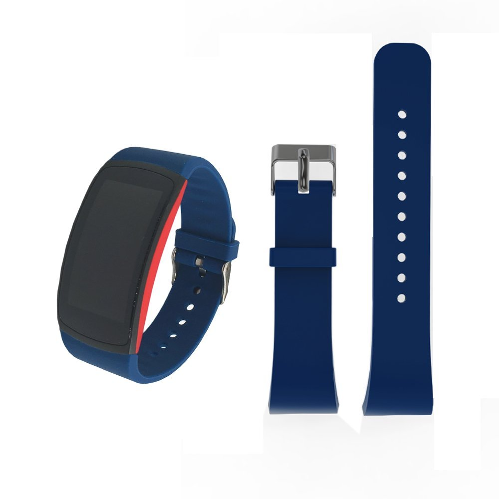 For Samsung Gear Fit2 /Fit2 Pro Bands, Soft Silicone Sport Bracelet Replacement Band Strap for Samsung Gear Fit2 SM-R360 /Fit 2 Pro SM-R365 Smart Fitness Band (Blue, Large)