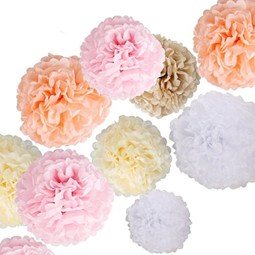 Paper Flowers - Fluffy Tissue Paper Pom Poms - Hanging Flower Ball for Baby Shower Decorations, Wedding Decor, Birthday Party Ce