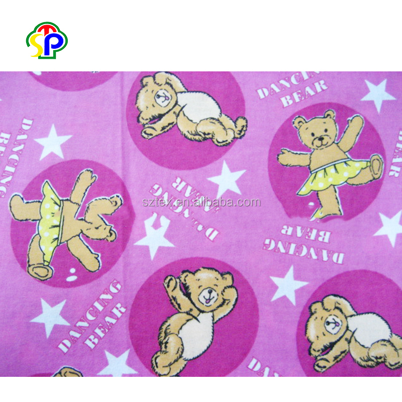 Cute brushed 100% cotton woven printed flannel 20x10 sheeting fabric