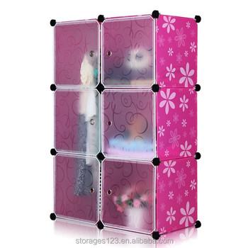 Elegant DIY Pink Daisy Plastic 6 Cube Organizer, Baby Wardrobe Closets