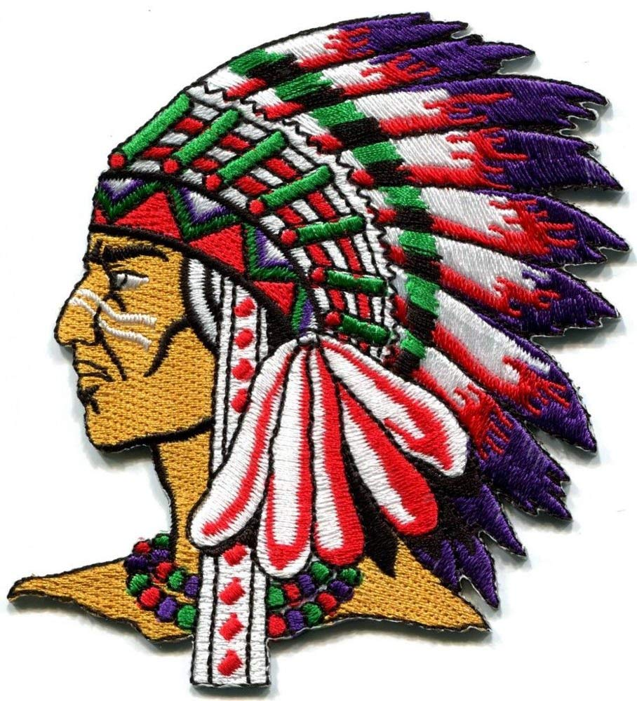 Native American Indian Chief Ethnic Retro Biker Applique Iron On Patch New