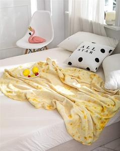 High Quality Hot Sell Custom Super Soft Round Throw Mexican Burrito Tortilla Blanket Throw Microfiber