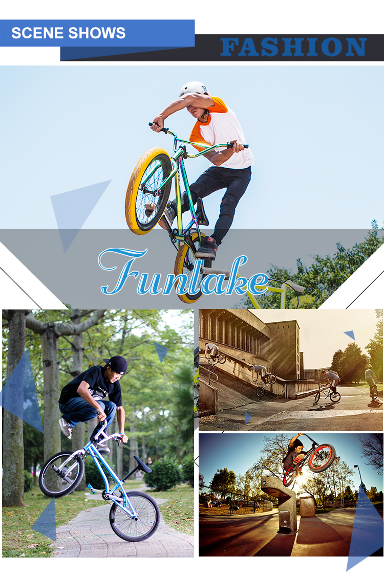 Customized wholesale 18 inch funlake extreme sport street bicicletas halfpipe flatland cycles freestyle racing bmx bike 20 inch