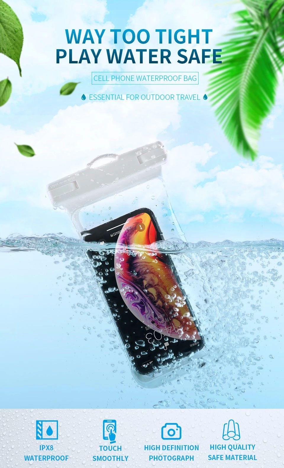 Joyroom JR-CY264 TPU Hand-held Waterproof bag Side Button Mobile Cell Phone Waterproof Case