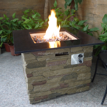 Crawford Outdoor Square Liquid Propane Fire Pit With Marble Top And Lava Rocks Table Product On