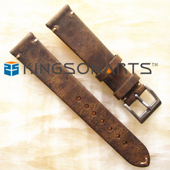 9004398e8a5 Distress Dark Brown Genuine Leather Watch Strap 18mm 20mm 22mm - Buy ...