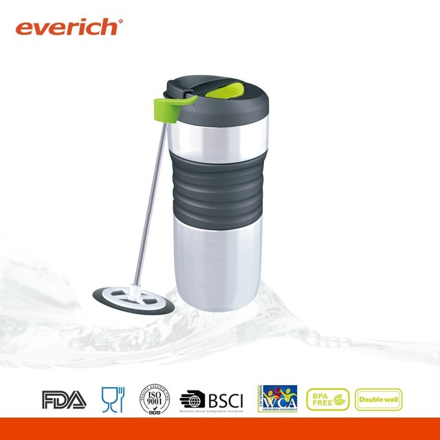 Eco-Friendly double wall stainless steel thermal mug with coffee press