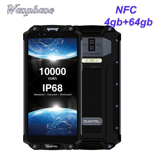 Good waterproof cellphone Oukitel WP2 with NFC Android 8.0 4GB+64GB Octa Core Smartphone 10000mAh battery 16MP
