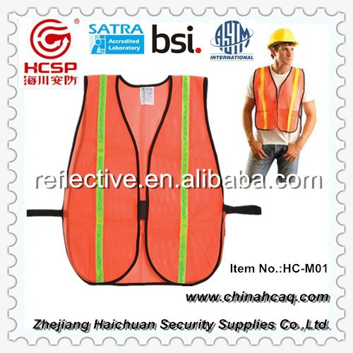 American Standard Safety Workwear Mesh Vest with Reflective Strips