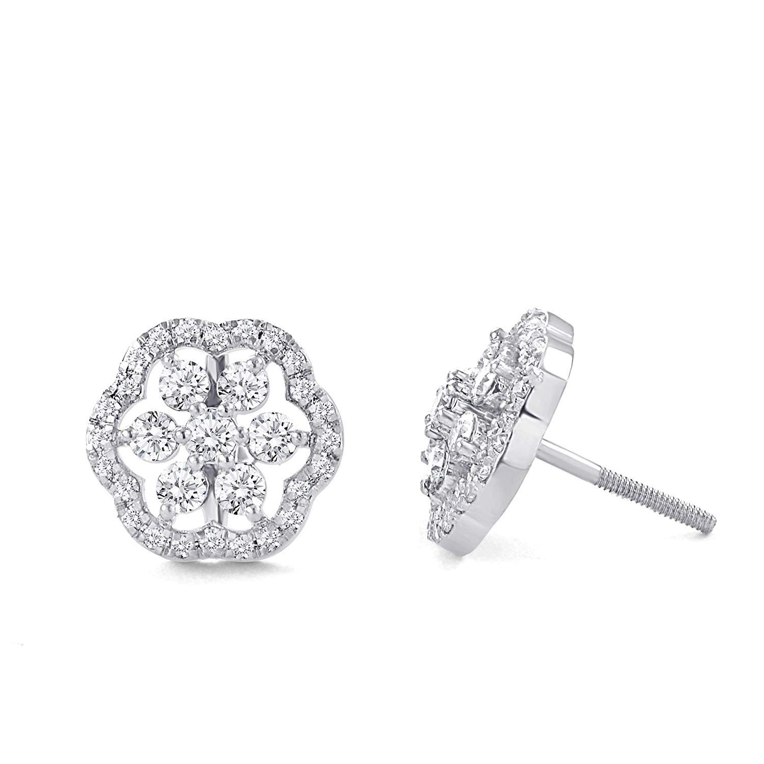 Get Quotations 1 10 Ct Round Cut White Natural Diamond Cer Flower Stud Earrings In 925 Sterling Silver