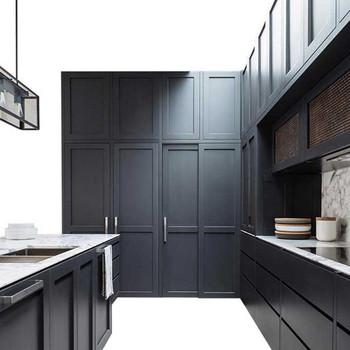 U Shape Dark Grey Melamine Profile Kitchen Cabinet Design For Real