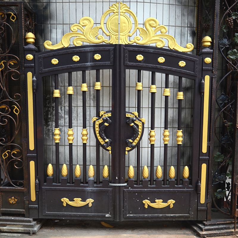 HS-007 simple boundary wall gate design iron grill exterior doors