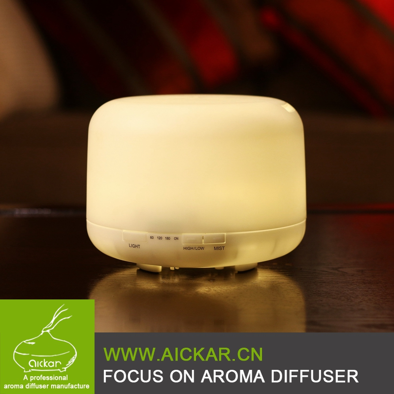 500ml Aromatherapy Essential Oil Diffuser Ultrasonic Air Humidifier with 4 Timer Settings 7 LED Color Changing Lamps