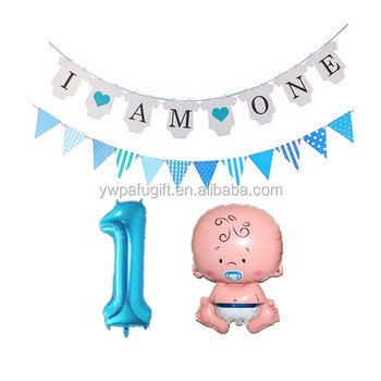 Birthday Party Decorations 1st Number 1 Baby Boy Foil Balloons I Am One Banner