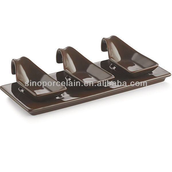 Brown Color Ceramic snack set with base for BS12091B