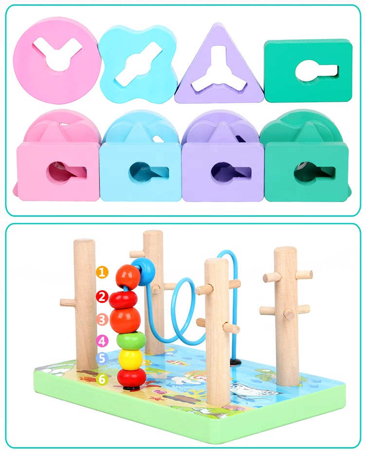 children educational Geometry Matching Five Sets Of Columns Cognitive pairing Building Blocks wooden toy