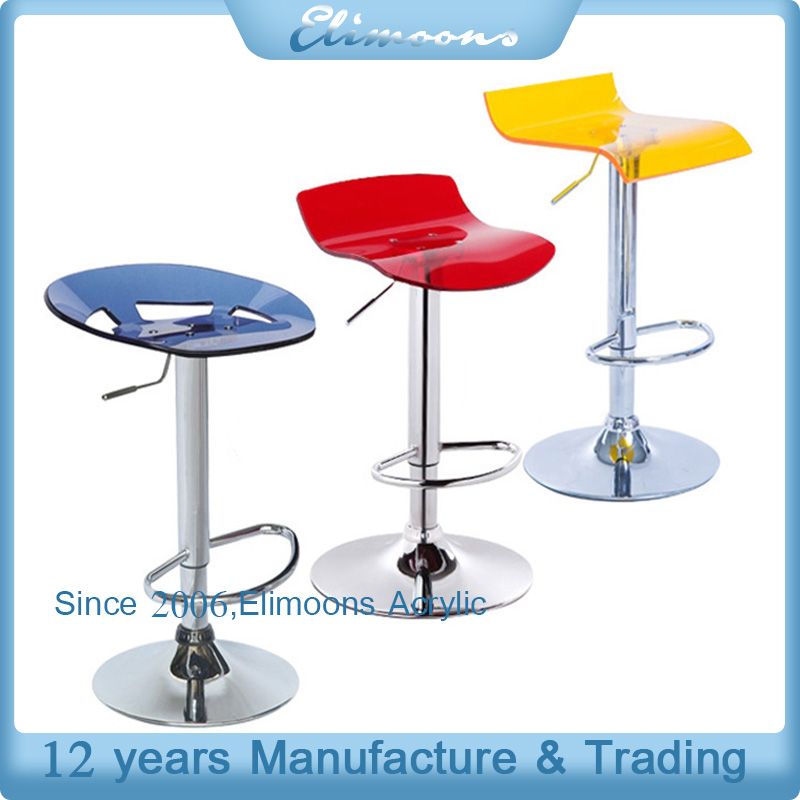 Office Club Acrylic Swivel Chairs for Reception/ Crystal Plastic Steel Base Revolving Bar Stool With Footrest