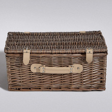 Home Decor Grey Wicker Willow Cane Knitted Picnic Basket Leather