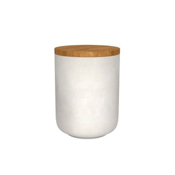 White Candle Jar With Wooden Lid