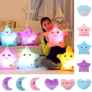 Free Sample Wholesale Factory Cheap promotion gift LED pillow plush toy soft stuffed light paw star heart moon shape pillow