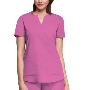 Wholesale Fashion New Style Uniforms Women's Junior Mock Wrap Solid Scrub Top/Nurse Uniform Top