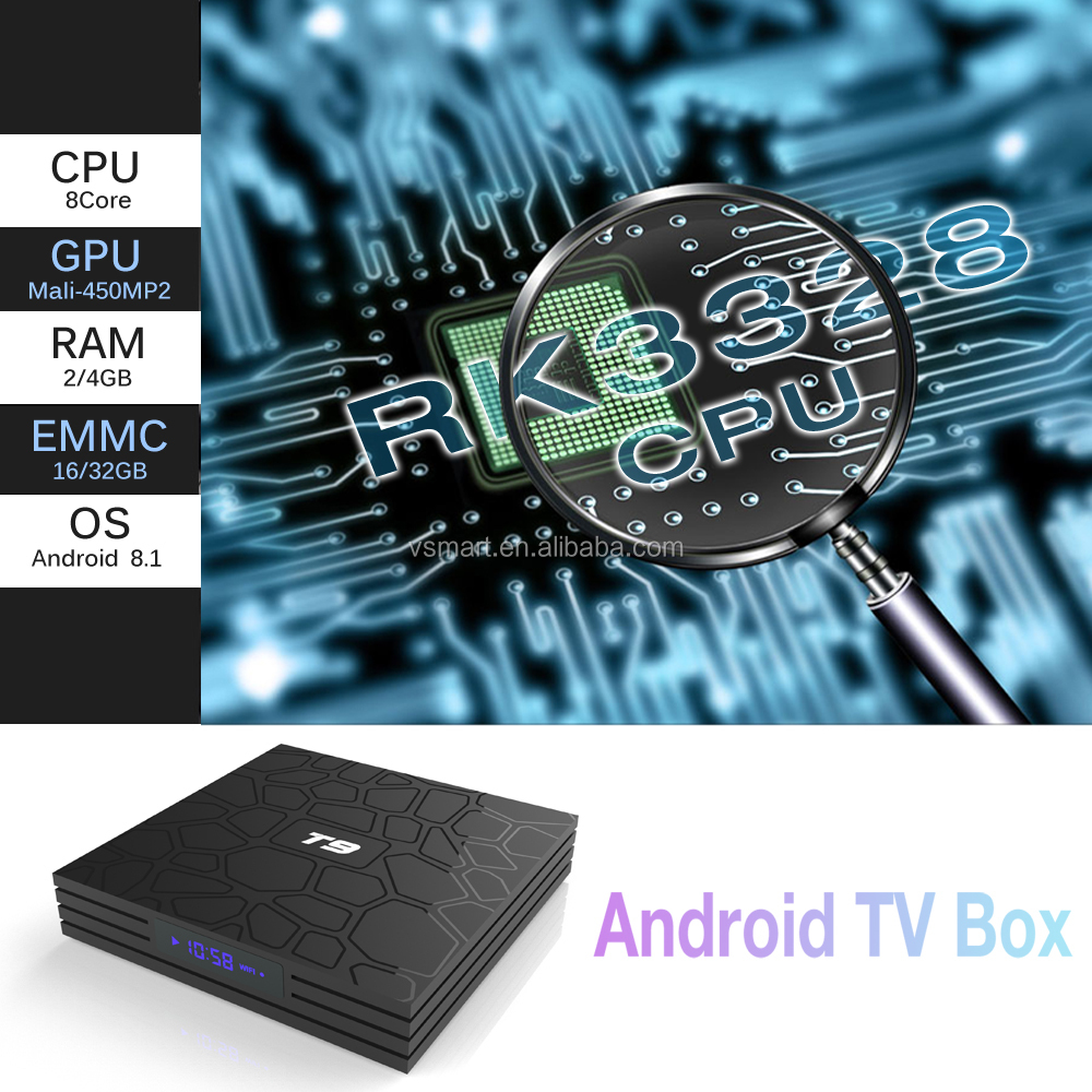 Nuovo arrivo T9 Smart media Player RK3328 4 GB 64 GB android 8.1 tv box, t9 android 8.1 tv box, set top box