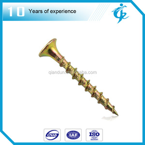 Yellow zinc plated furniture leg screws