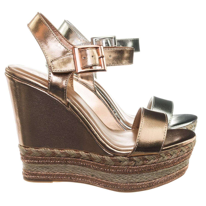 ca05c981e70 Get Quotations · Aquapillar Espadrille Jute Wrap Metallic Woven Braid Platform  Wedge Sandal
