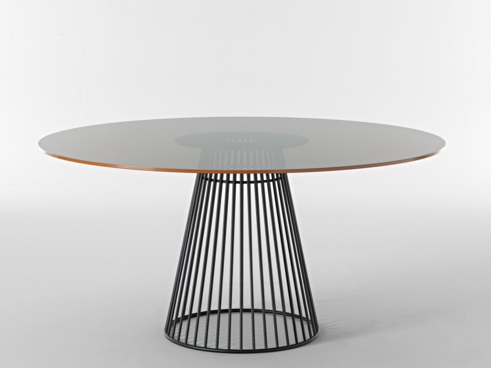 Designer round metal glass dining table