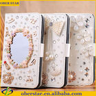 Crystal Bling Flip Magnetic Pu Leather Wallet Case for Samsung galaxy S4/ I9500