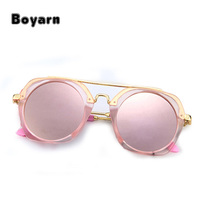 Cool kids Small Round Sunglasses Boy Metal Half Frame Girls Glasses Kids Brand Designer Pink Sunglasses Cute
