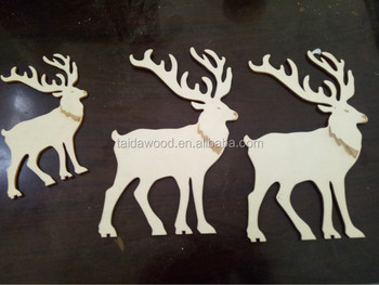 wood craft christmas ornamentswooden deer - Wooden Deer Christmas Decorations