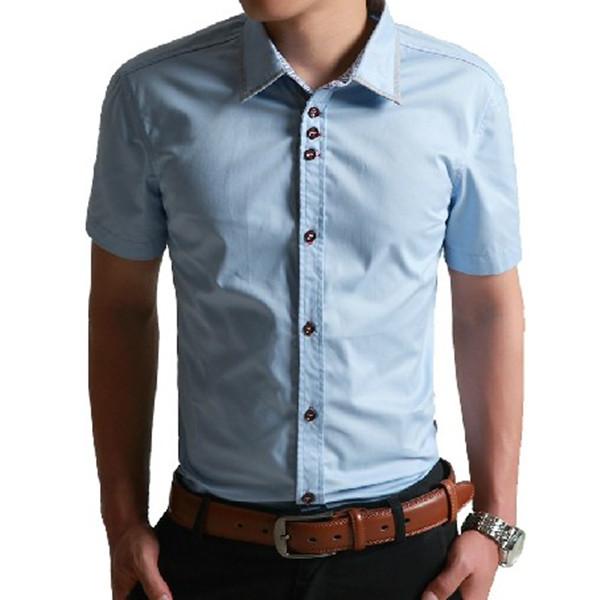 2cfb85076e7ec la última moda de los hombres de camisa 2014 botón-Hombre Camisetas ...