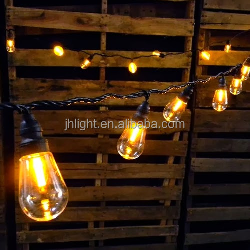 Commercial Party String Lights, 48 Foot Black Wire, Clear