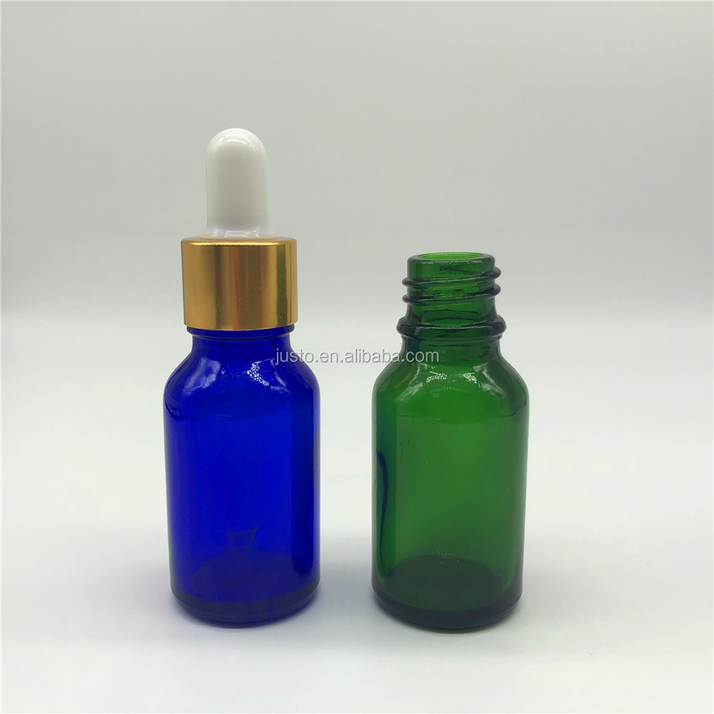 15ml Clear Blue And Green Glass Serum Cosmetic Packaging Bottles