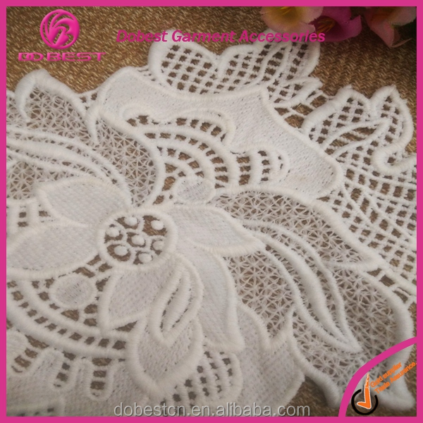 2016 Fashion white crochet lace patch embroidered flower applique on sales guangzhou