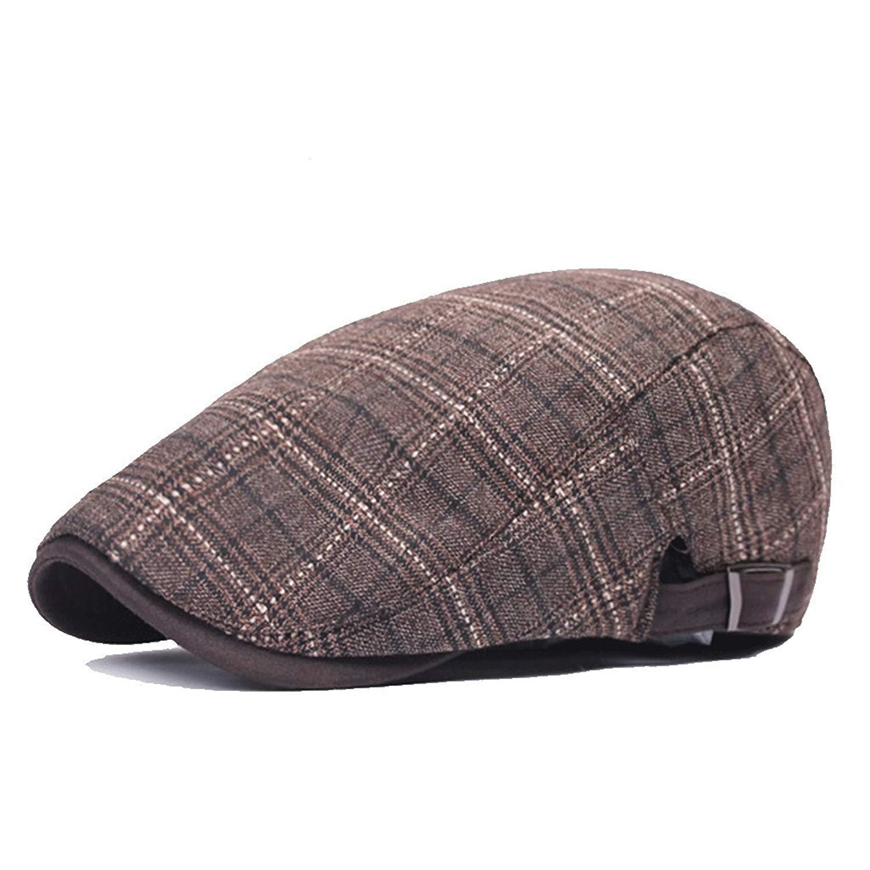 2abb5319b44 Get Quotations · ZLSLZ Mens Cotton Plaid newsboy IVY Irish Cabbie Golf Cap  Hat For Men