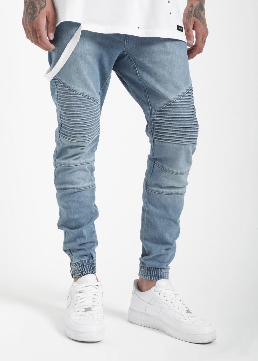 e70e7e15e94 OEM Custom Biker denim jogger pant blue wash man denim biker joggers jeans  pants jogger jeans