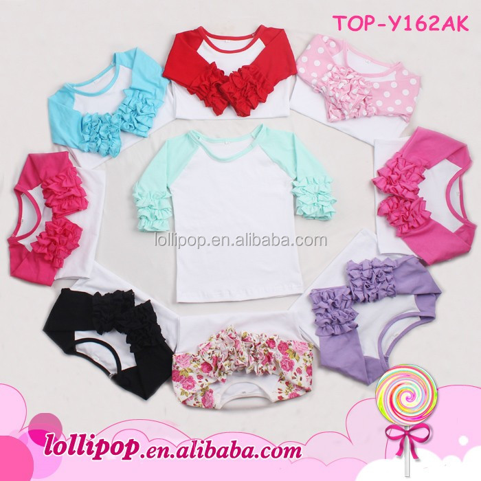 Wholesale Baby Girls Cheap Ruffle Raglan Sleeve T Shirt 3 4 Sleeve